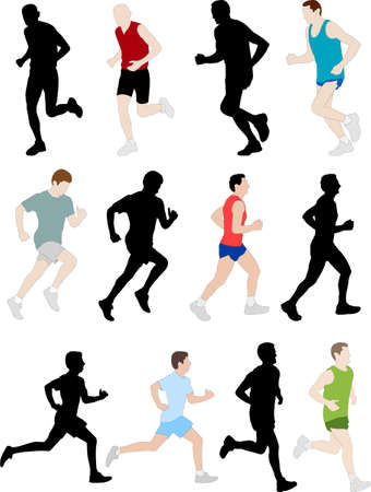 triathlon: runners illustration Illustration