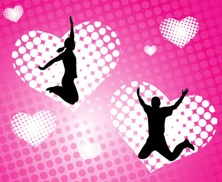 exaltation: happy people jumping on the abstract love background - vector Illustration