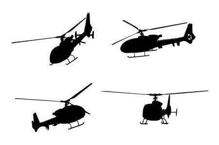 helicopter silhouettes - vector Illustration