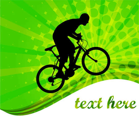 training wheels: bicyclist on the abstract background - vector