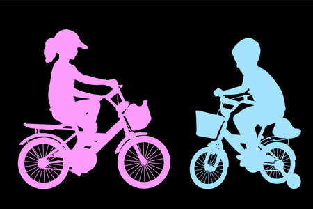 boy and girl riding bicycles
