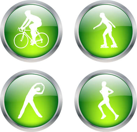 rollerblade: glossy buttons with recreation symbols - vector