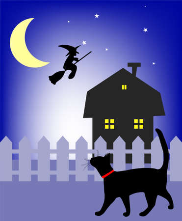 black cat walking in the night Stock Vector - 10257252