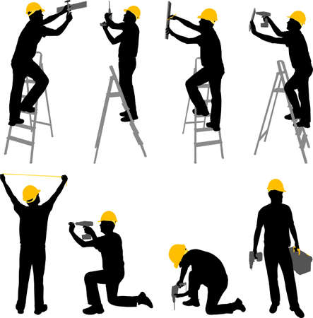 tape measure: construction workers silhouettes - vector Illustration
