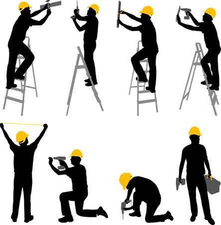 dělník: Stavební dělníci siluety - vektor Ilustrace