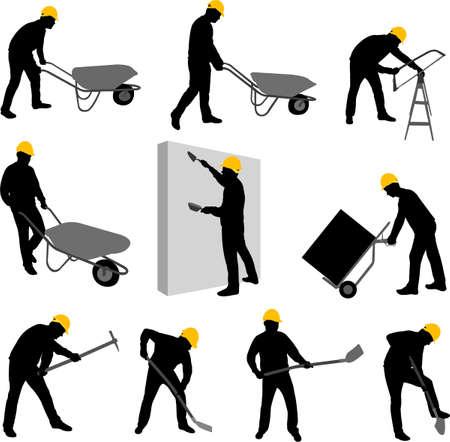 power shovel: 건설 노동자 실루엣 2 - 벡터 일러스트