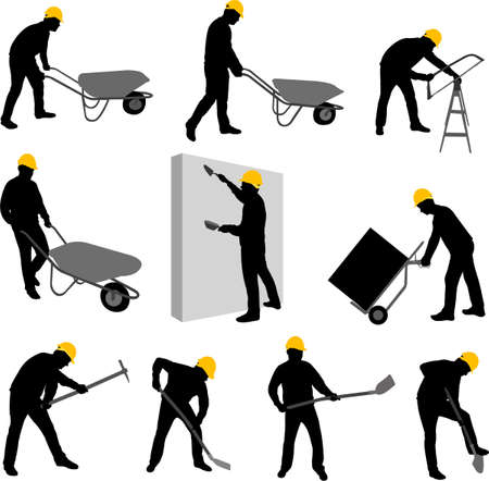 craftsmen: construction workers silhouettes 2 - vector