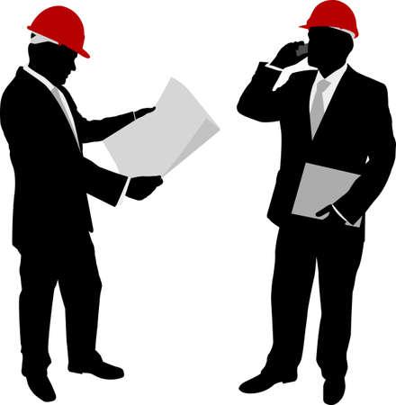 ingegneri: uomini d'affari con cappello duro - vettore