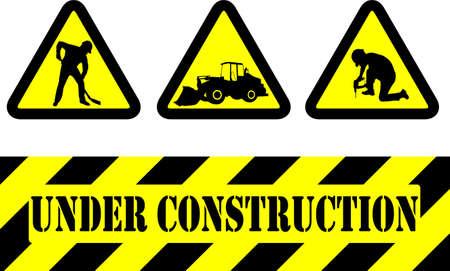 under construction signs - vector