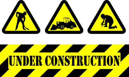 warning triangle: under construction signs - vector