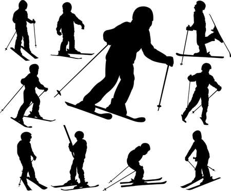 mountain skier: children skiing - vector