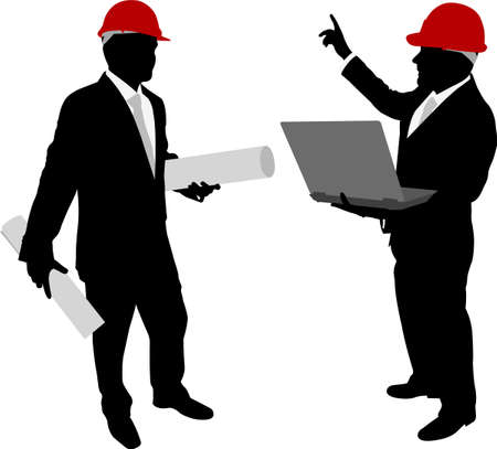 business people with hardhat holding laptop and plans - vector Ilustração