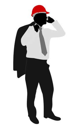 man on cell phone: hombre de negocios con hardhart