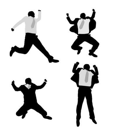 excited businessmen jump
