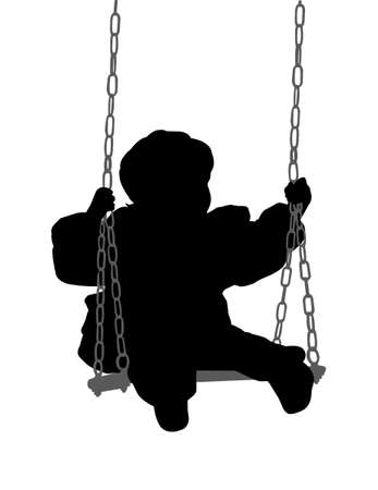 children playground: child swinging - vector Illustration
