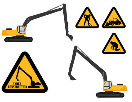 digger: excavator and under construction signs -vector Illustration