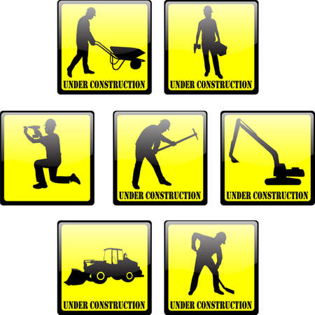 under construction signs Vector