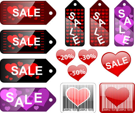 Sale labels,  Valentines day Vector