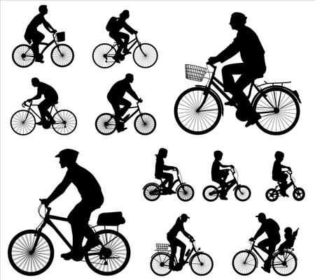 ni�os en bicicleta: ciclistas siluetas colecci�n Vectores