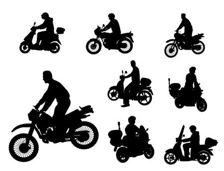 moped: motorcyclists silhouettes