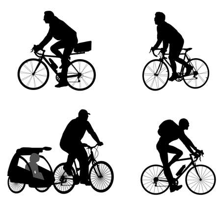 helmet seat: bicyclists silhouettes Illustration