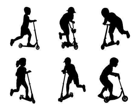 children scooting silhouettes  Vector