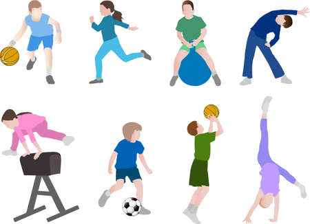 vault: children sport  - vector Illustration