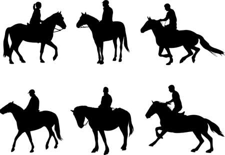 equitation: horsemen silhouettes - vector