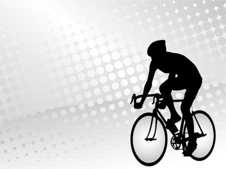 cyclist: fietser op de abstracte halftoon achtergrond - vector