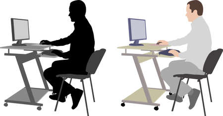 man sitting in front of computer - vector
