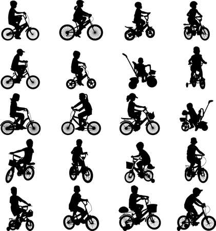 cyclist silhouette: children riding bicycles silhouettes