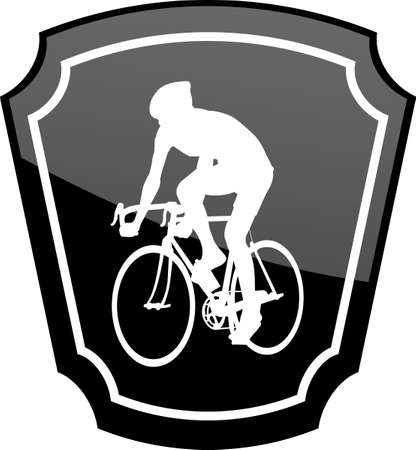 bicycle icon: bicyclist on emblem - vector