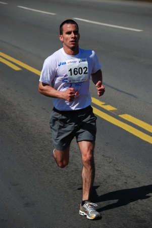 BELGRADE, SERBIA - APRIL 22: Undefined man runs on April 22, 2012 in Belgrade marathon  Stock Photo - 13267112