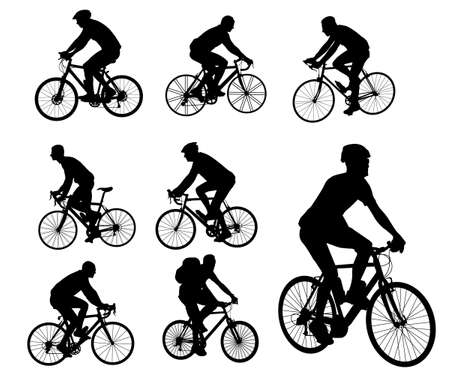 ciclista: ciclistas siluetas colección Vectores