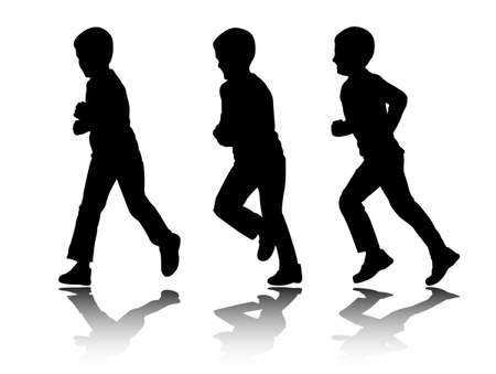 running silhouette: boy running silhouettes Illustration