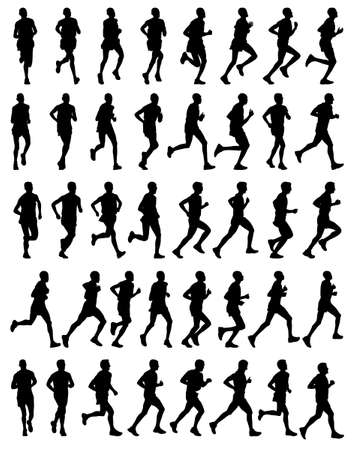 long distance: 40 high quality male marathon runners silhouettes