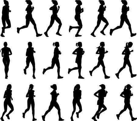 long distance: 18 high quality female marathon runners silhouettes - vector Illustration