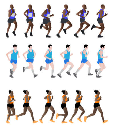 long distance: marathon runners - vector illustration Illustration