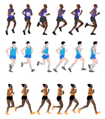 marathon runners - vector illustration Illustration