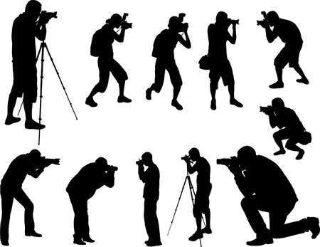 arrodillarse: fotógrafos siluetas
