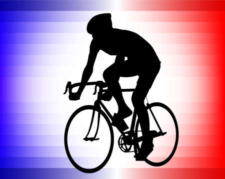 bicyclist silhouette on the tricolor background  Vector