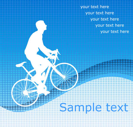 bicyclist on the abstract blue background - vector Vector