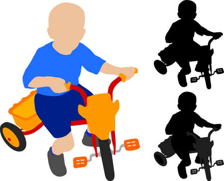 tricycle: child riding tricycle - vector Illustration