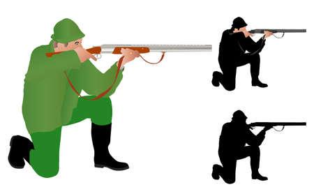 ajoelhado: caçador que aponta Ilustração