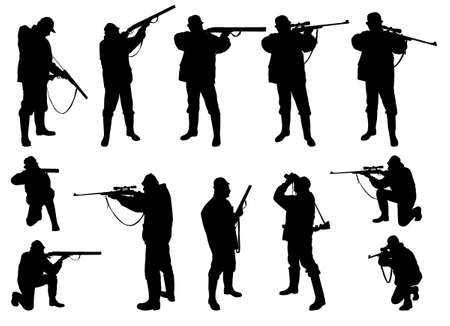 gun shot: hunters silhouettes collection Illustration