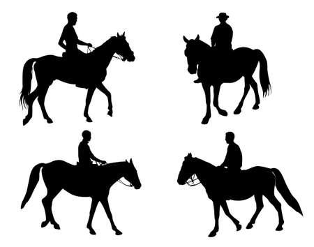 free riding: horsemen silhouettes - vector
