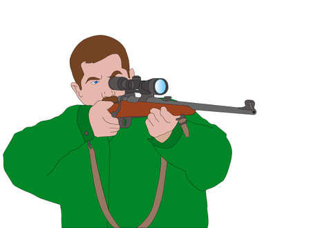 hunter aiming with sniper rifle - vector