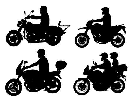 motorized: motorcyclists silhouettes set - vector Illustration