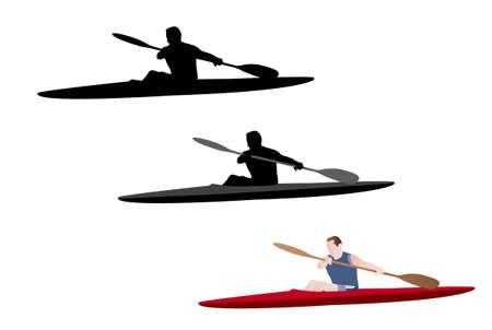 kayaking silhouette and illustration Vector