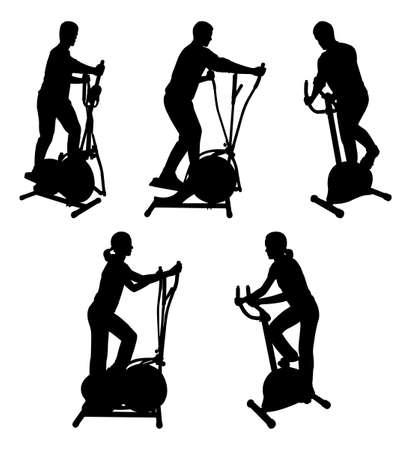 silhuetas de fitness pessoas em bicicletas de ginásio